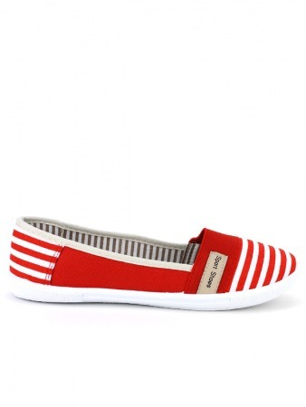 Slippers Rayures Red and White SPORT SHOES