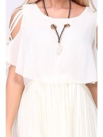 Robe beige JAILY MODE collier perle inclus, image 04