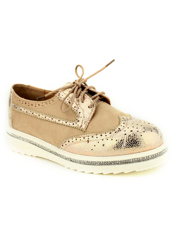 Derbies beige BELLO Strass