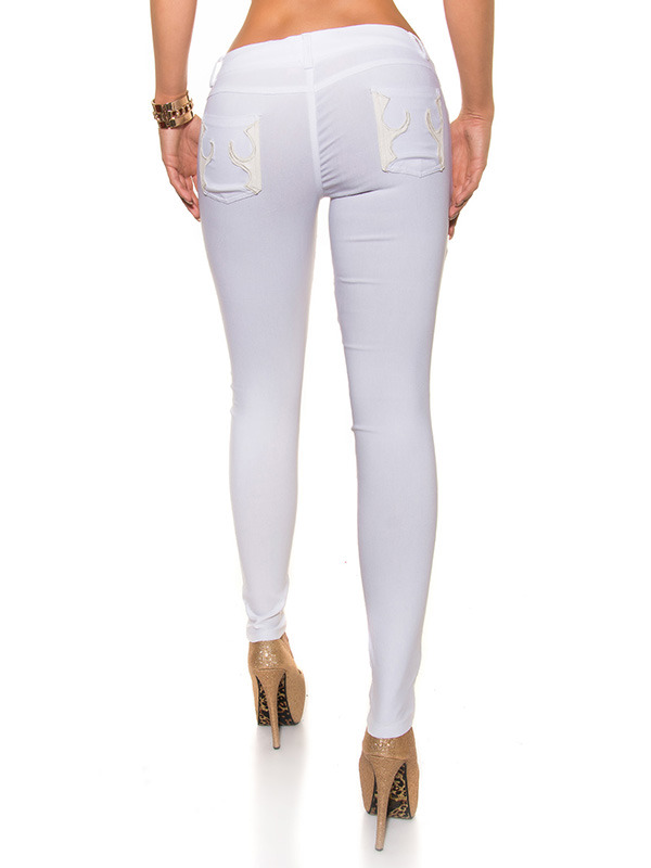 pantalon blanc koucla chic pantalon slim blanc taille basse avec fermeture zip et bouton. Black Bedroom Furniture Sets. Home Design Ideas