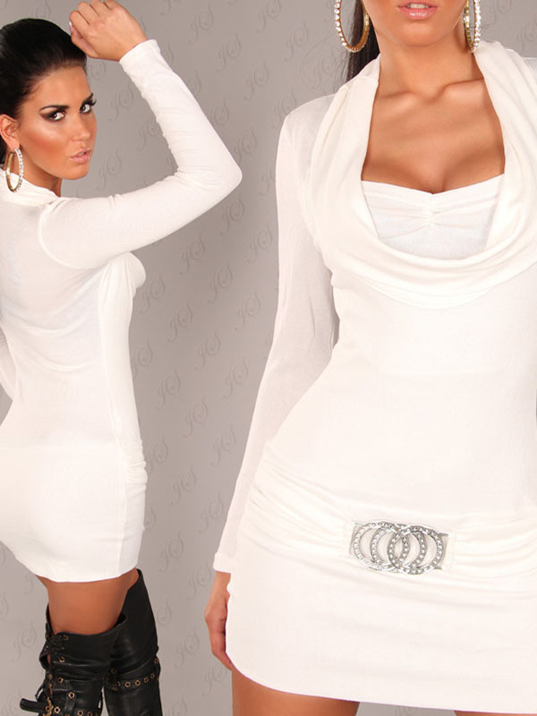 Robe Pull Blanche Coco Glamour Pull Robe Blanc Avec Col Tombant