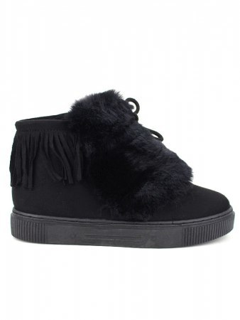 Baskets Noires fourrure CINKS LO