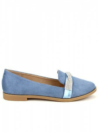 Derbies simili bleue SIXTH SENS Strass