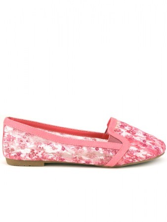 Slippers en Résille Fleuri Rose POMSY