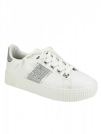 Sneakers blanches EXQUILY Rivets paillettes, image 02
