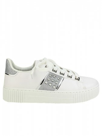 Sneakers blanches EXQUILY Rivets paillettes