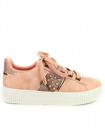 Sneakers Rose EXQUILY Rivets paillettes