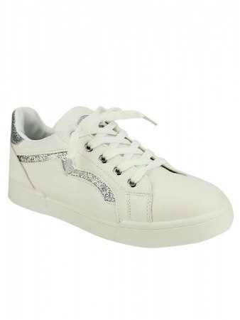 Sneakers Blanches BELLO STAR paillettes argentées, image 02