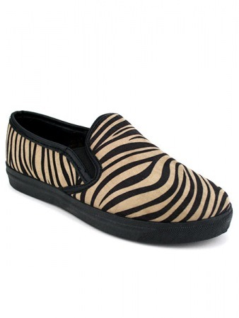Basket Slippers ZEBRA Noir & Marron