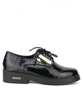 Derbies Noires Croco HOOD