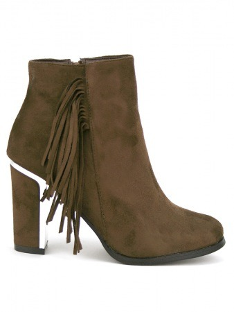 Bottine simili cuir Marron TERLINA Franges