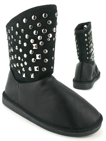Bottines Noires Fourrées UGCA Clous Rivets