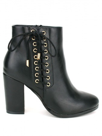 Bottine simili cuir Lacet Noir C'M