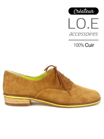 Derbies Cuir velours BASILE Camel