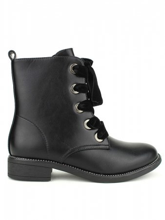 Bottines Noires VIVI Lacet Velours