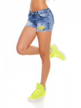 Short jean with neon yellow mesh, image 02