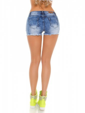 Short jean with neon yellow mesh, image 03