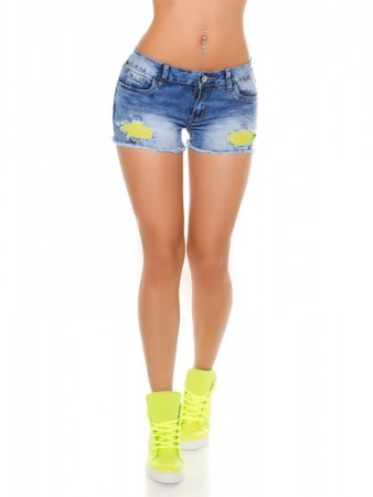 Short jean with neon yellow mesh