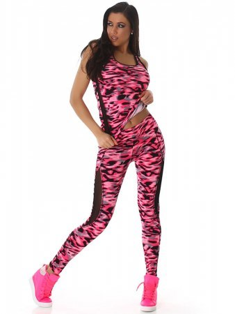 TOP & LEGGING long color camouflage Fushia, image 03