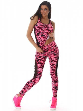 TOP & LEGGING long color camouflage Fushia