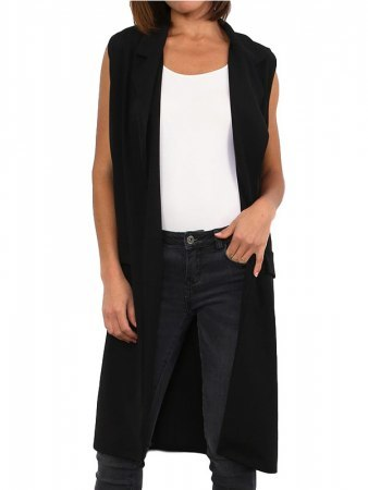 Gilet long noir MODERN FASHION