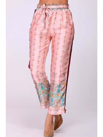 Pantalon satiné imrpimé Rose BELIANA