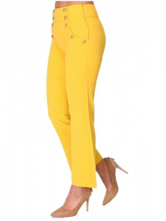 Pantalon loose color moutarde INTEMPORELLE, image 02