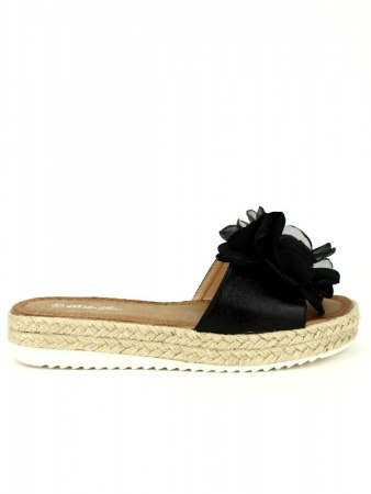 Mule Noire BELLO STAR Tulle Flowers