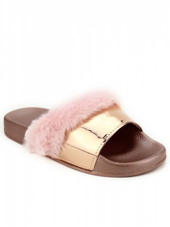 Mule FASHION Fourrure Pink verni, image 02