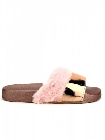 Mule FASHION Fourrure Pink verni
