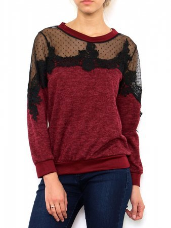 Pull Bordeaux Chiné LACE TO