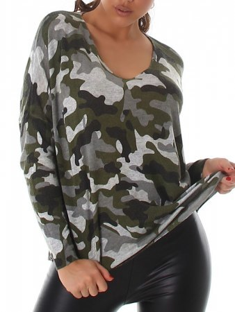 Pull manches longues Camouflage LIXA MODA