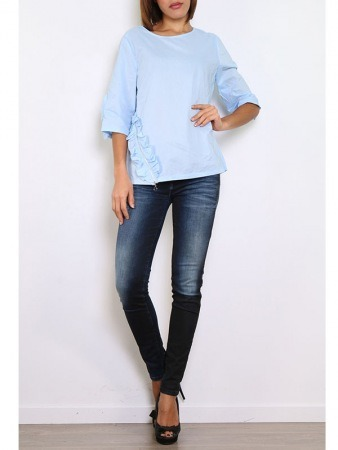 Blouse bleu ciel WHY NOT, image 02