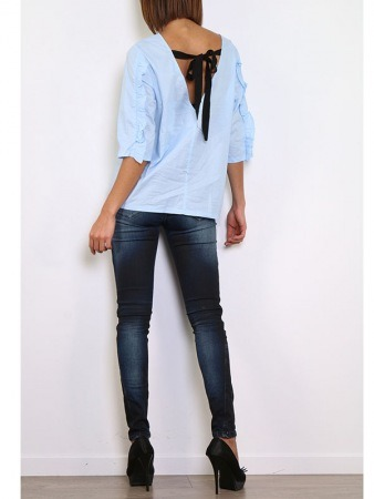 Blouse bleu ciel WHY NOT, image 03