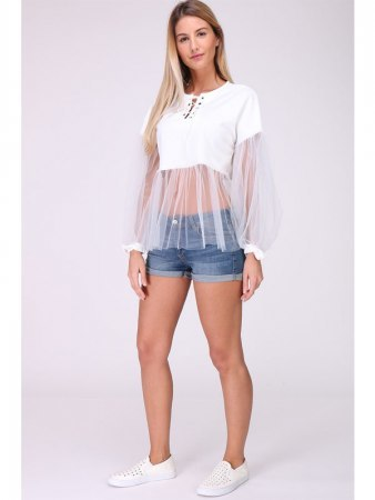Top Blanc Tulle MELIE, image 04