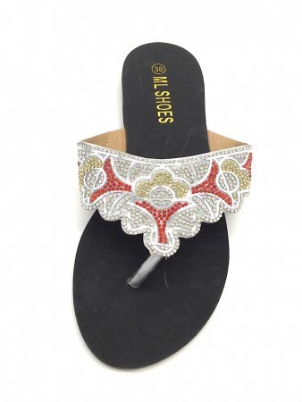 Tongs Strass Argenté ML SHOES, image 03