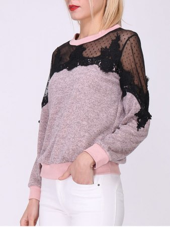 Pull brodé color rose JUILE