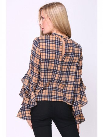 Blouse à Carreaux Marron DEPOM, image 02