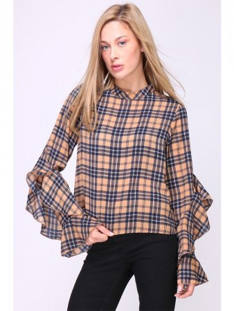 Blouse à Carreaux Marron DEPOM