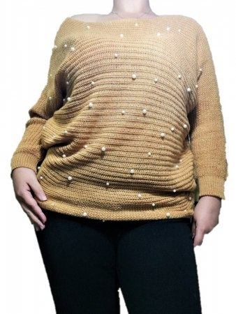 Pull avec perles Moutarde